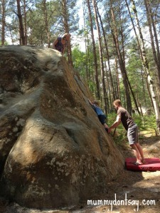 O indulging in a spot of bouldering